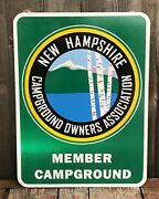 Vintage New Hampshire Campground Owners Association 2 Sided Sign 23x18 Nos