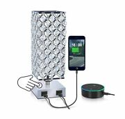 Mbl Square Modern Silver Crystal Table Desk Lamp With 2 Usb Charging Port | T...