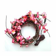 Babali 6ft Led Lighted Twig Garland With Fake Silk Plum Blossom Battery Opera...