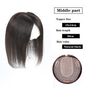 Seamless 100 Human Hair Mono Base Topper Bang Hairpiece Toupee Top Wig Topper