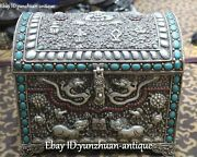 Old Tibet Silver Turquoise Coral Dragon Kylin Foo Leo Jewelry Treasure Box Case