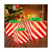 Lighted Gift Boxes Christmas Decoration Set Of 3 Red Present Ornament Boxes ...