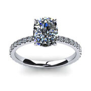 Cushion Cut 0.82 Ct Real Diamond Engagement Ring Solid 14k White Gold Size 6 7 8