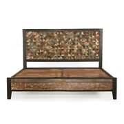 86 L Water Color Sanded Queen Bed Reclaimed Hardwoods Rectangle Rustic Paint
