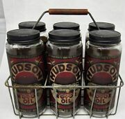 Old 1930s - 40s Six Hudson Motor Oil Jars With Paper Labels In Metal Wire Rack