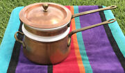 Vintage Benjamin And Medwin Douro Copper Ceramic Double Boiler Brass Cooking Pot