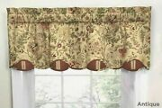 Set Of 3 Waverly Imperial Dress Drapery Valance Antique Jacobean Floral Scallop
