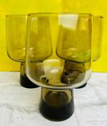 Vintage Smokey Accent Beer Tumbler Glassware Set Of 3 Collectibles