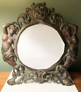 Antique Brass Art Nouveau Style Round Standing Table Top/vanity Beveled Mirror