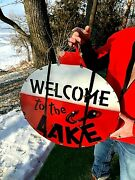 Rustic Lg Welcome To The Lake Fishing Bobber Sign W/ Fish Lure Cabin Décor