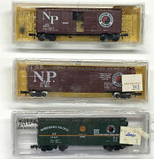 3 N Scale Micro-trains And Atlas Northern Pacific Box Cars W/ Rapido Couplers New