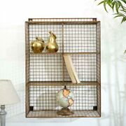 Large Rectangle Copper Wire Shelving Unit Scandi Industrial Home Decor Rustic