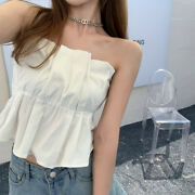 Sexy Summer Women's Strapless Pleated Stretchy Tube Top Shirt Blouse Tanks Camis