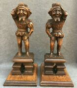 Large Antique Pair Of French 19th Century Figures Sculptures Woodwork Satyr Faun