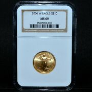 2006-w 10 Gold American Eagle ✪ Ngc Ms-69 ✪ 1/4 Burnished Oz Ozt Bu ◢trusted◣