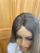 Malky Wig Sheitel European Multidirectional Human Hair Gray Platinum Lace Top