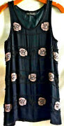 Lynn Chalk For Maxfield Los Angeles Vtg Beaded Rose And Butterfly Black Dress M/l