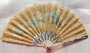 Antique Mother Of Pearl And Lace Hand Painted Hand Fan