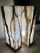 2 Onyx Stone Table Lamps Elegant And Beautiful
