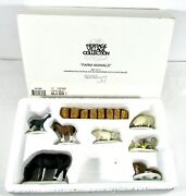 Dept 56 Farm Animals Set Of 8 W/ Hay Bales But Missing Cow And 1 Ear. And 1 Horn