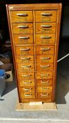 Antique Oak 20 Drawer File Cabinet - Apothecary - Collections