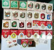 Lot Of 30 Vintage Campbell's Soup Kids Christmas Ornaments 1980-2008 W/orig Box
