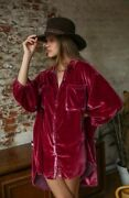 Free People Lux Velvet Shirt Dress Xs Tunic Color Is Fairytale Button Down.