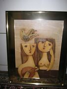 Spectacular Rare Vintage Early J. Roybal Oil Painting. Nude Women With Mandolin