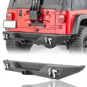 Black Steel Rear Bumper W/ D-ring And Hitch Receiver For Jeep Wrangler Cj7 76-86