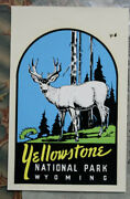 Original Vintage Travel Decal Yellowstone National Park Deer Auto Rv Camper Old