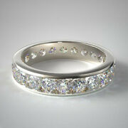Solid 14k White Gold 1.50 Ct Real Diamond Engagement Eternity Band Sizes 6 7 8 9