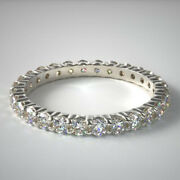 Natural 1.50 Ct Diamond Anniversary Eternity Band Solid 14k White Gold Size 7 8