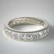 Solid 14k White Gold Real 1.50 Ct Diamond Engagement Eternity Band Sizes 5 6 7 8