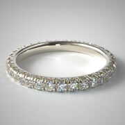 Natural 0.75 Ct Diamond Wedding Eternity Band Solid 14k White Gold Size 5 6 7 8