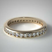 Solid 14k Yellow Gold 1.00 Ct Real Diamond Anniversary Eternity Band Size 5 6 7