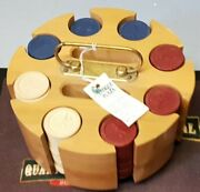 Vintage Clay Poker Chips, In Round Wooden Holder Case - Good Condition