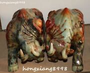 15 Natural Old Jade Carving Wealth Money Cattle Bull Ox Oxen Cox Statue Pair
