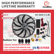 120w 16 Inch 3000cfm Electric Radiator Cooling Fan Relay Switch Thermostat Kit
