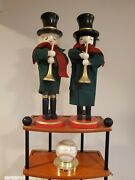 2 Vintage Wooden Nutcracker Holiday Green Coat , Red Scarf, Christmas Music