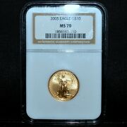 2005 10 Gold American Eagle ✪ Ngc Ms-69 ✪ 1/4 Oz Ozt Uncirculated Bu ◢trusted◣