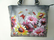 Anuschka Wild Meadow Hand Painted Leather Shoulder Tote Purse - Nwt