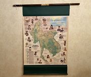 Double-sided Vintage Pull Down World Map Of Asia / Peoples Of Southeast Asia