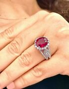 14k White Gold Oval Ruby And Round Natural Diamonds Ring Antique Style 4.50ctw