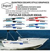 Quintrex Style Escape Boat Graphics 2000mm Long With Your Choice Of Wording