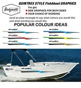 Quintrex Style Fishabout Boat Graphics 2000mm Long With Your Choice Of Wording
