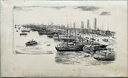 Drawing Ink Coulougnac Port Trade Boats North Hudson River New York 1890
