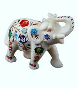 06 Inch Marble Good Luck Elephant Hand Crafted Multi Stones Table Master Piece