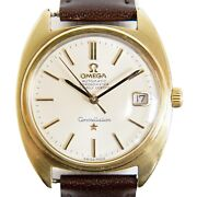Omega Constellation Vintage Wrist Watch Men Automatic Gold Plated Silver Leather