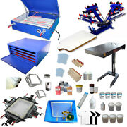 Full Set 4 Color Silk Screen Printing Kit W/ Exposure And Flash Dryer All Supplies