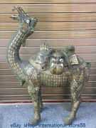 41.6 Old China Silver Gilt Bronze Ware Dynasty Camel Man Head Word Sculpture